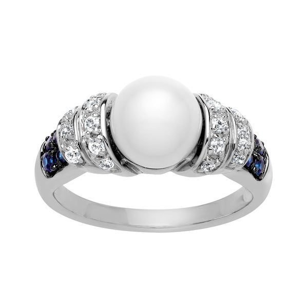 Pearl and 1/2 ct White and Blue Sapphire Ring in Sterling Silver