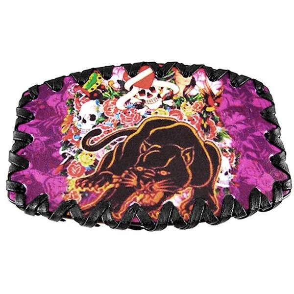 Skulls & Panther Leather Belt Buckle