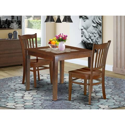Square 36 Inch Table and Wood Seat Chairs in Mahogany Finish (Number of Chairs Option)