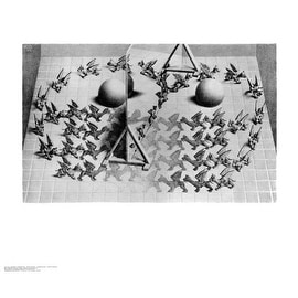 ''Magic Mirror'' by M.C. Escher Fantasy Art Print (21.75 x 25.625 in.)