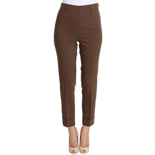 Ermanno Scervino Ermanno Scervino Brown Wool Stretch Cropped Pants - it42-m