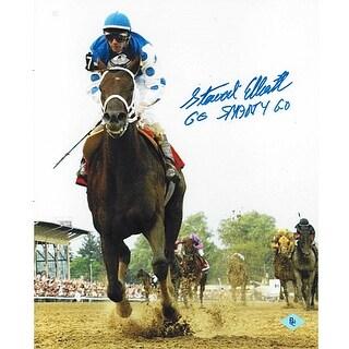 Smarty Jones signed 2004 Preakness Horse Racing 8x10 Photo Go Smarty Go