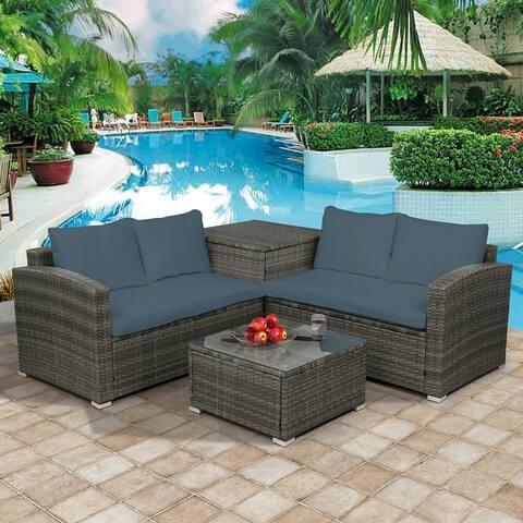 4PCS Outdoor Patio Cushioned PE Rattan Wicker Sectional Sofa Set,Beige