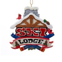 """Pack of 6 Multi-Colored """"Ski Lodge"""" Sign Decorative Christmas Ornaments 3"""" - RED"""