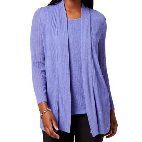 Kasper Womens Sweater Deep Purple Size XL Cardigan Open-Front Ribbed