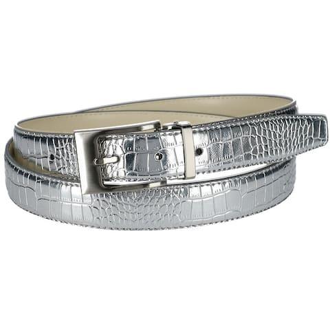 CTM® Leather Croc Print Belt