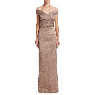 Teri Jon Off The Shoulder Jacquard Column Evening Gown Dress Bronze - 4
