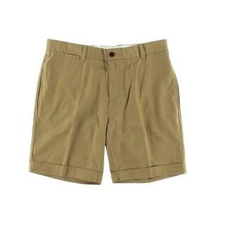 Tommy Hilfiger Mens Linen Blend Custom Fit Khaki, Chino Shorts