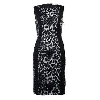 Tahari Women's Leopard Print Scuba Dress - Grey/Black/White