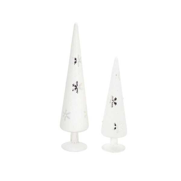 Set of 2 White and Silver Colored Artificial Christmas Tree Tabletop Pieces 15.5""