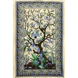 Handmade 100% Cotton Tree of Life Tapestry Tablecloth Coverlet Spread 60x90