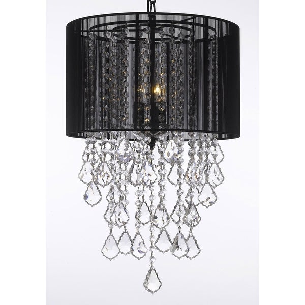 Crystal Chandelier Lighting With Large Black Shade H24 x W15