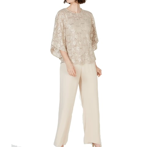 Jessica Howard Womens Blouse Gold Size 6 3PC Sequin Lace Shimmer