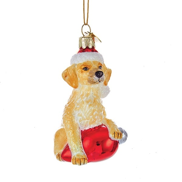 "3.5"" Noble Gems Golden Retriever in Santa Hat with Retro C7 Bulb Glass Christmas Ornament - brown"