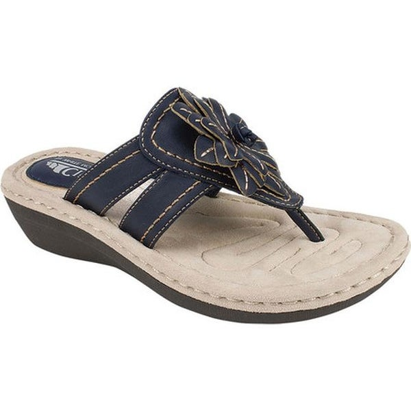 797a2f9748593 Cliffs by White Mountain Women  x27 s Cupcake Thong Wedge Sandal Navy  Smooth Synthetic