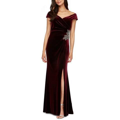 Alex Evenings Women's Dress Gown Velvet Off-Shoulder