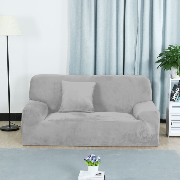 Unusual Sofas For Sale: Shop Unique Bargains Silver Gray Elastic Fabric Stretch