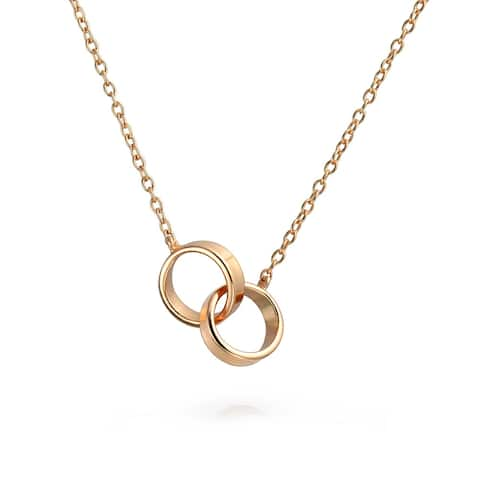2 Circle Interlocking Infinity Eternal Necklace Mother Daughter Couples Necklace For Women Rose Gold Plated 925 Silver