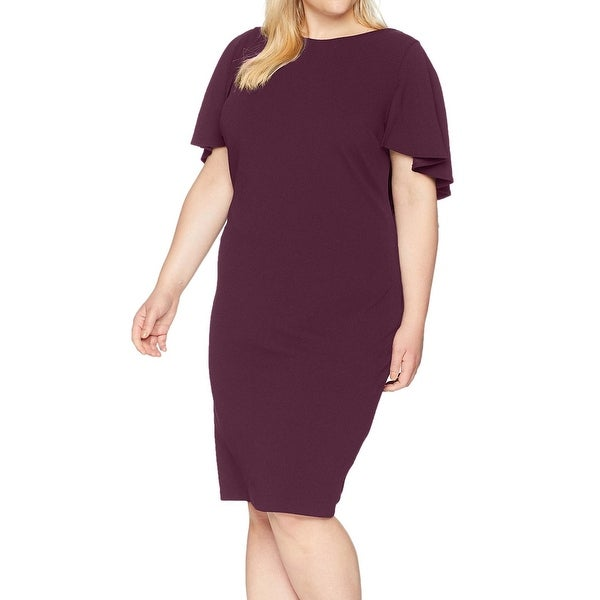 4102e29f Shop Calvin Klein Purple Womens Size 16W Plus Flutter-Sleeve Sheath Dress -  Free Shipping Today - Overstock - 27409245
