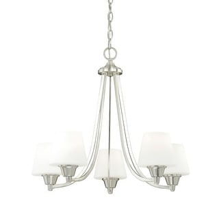 Vaxcel Lighting H0099 Calais 5 Light Single Tier Chandelier with Frosted Glass Shades - 24 Inches Wide