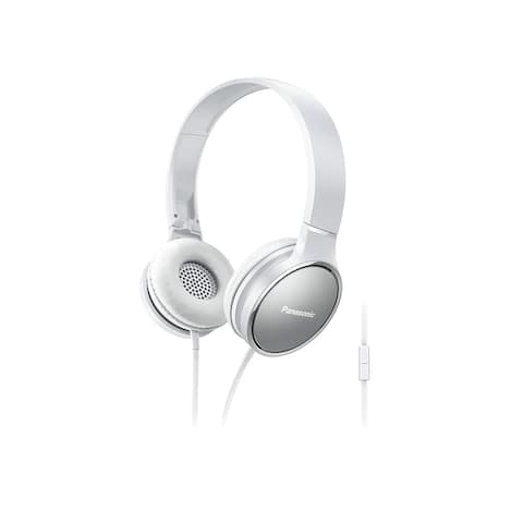 Panasonic RP-HF300M-W On-Ear Stereo Headphones with Mic and Controller (White)