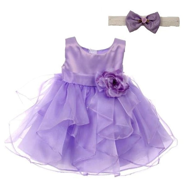 Good Girl Baby Girls Lilac Satin Organza Sleeveless Flower Girl Dress