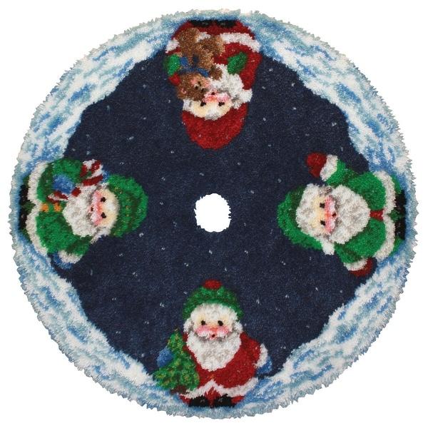 "Latch Hook Kit 45"" Round-Roly Poly Santa Tree Skirt"