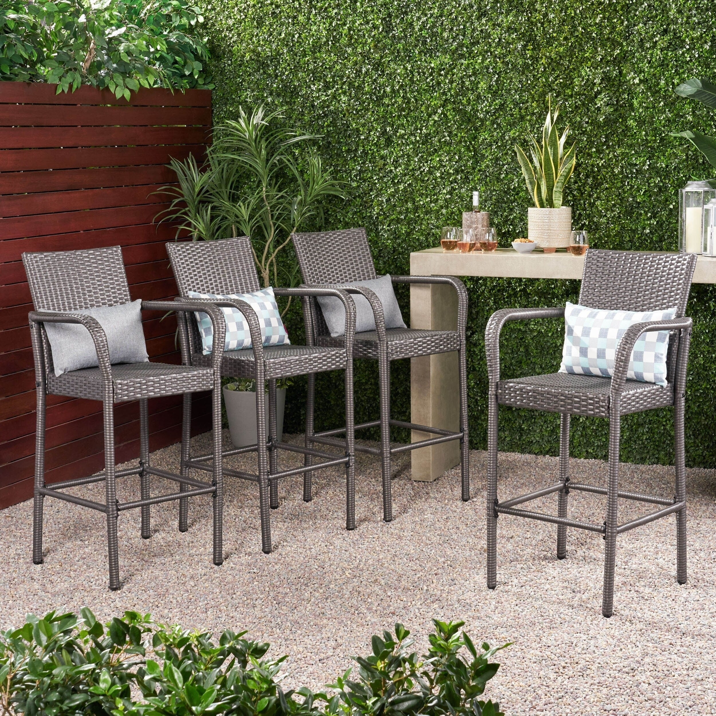 Image of: Shop Black Friday Deals On Delfina Outdoor Wicker Barstool Set Of 4 By Christopher Knight Home On Sale Overstock 10566274