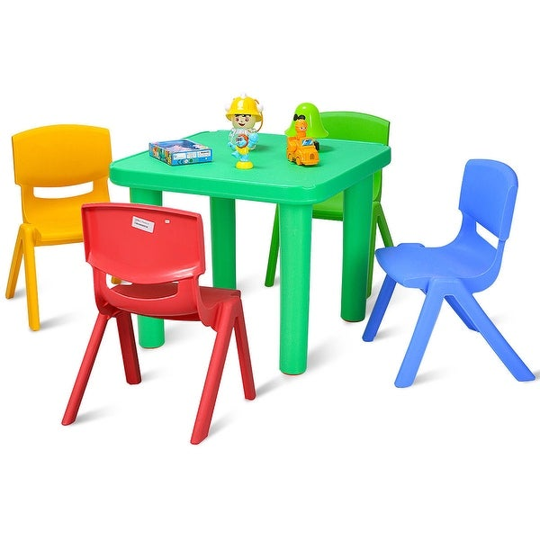 Costway Kids Plastic Table and 4 Chairs Set Colorful Playroom School Home Furniture New
