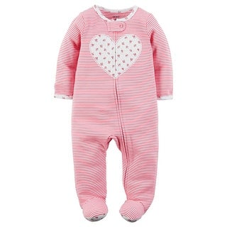 Carter's Baby Girls' Cotton Zip-Up Sleep & Play, Floral Heart 9 Months