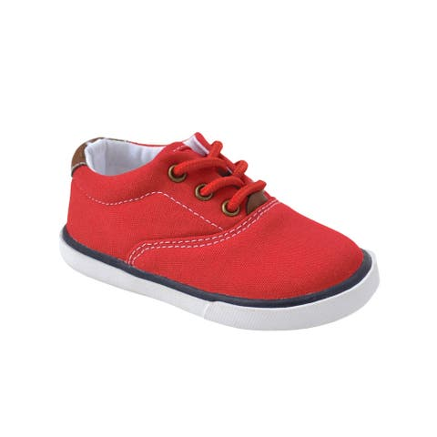 Baby Deer Little Boys Red Canvas Lace-Up Casual Sneakers