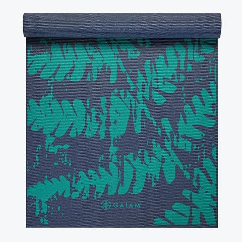 GAIAM Printed Yoga Mat (4MM) - Midnight Fern - Blue - 68 x 24