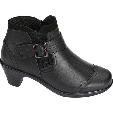 Orthofeet Women's Emma Bootie Black Full Grain Leather