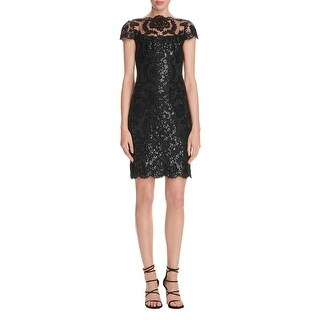 Tadashi Shoji Womens Petites Cocktail Dress Sequined Lace