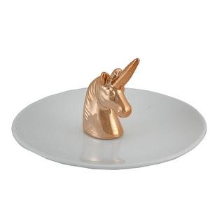 White Ceramic Jewelry Ring Holder W/ Copper Plated Unicorn Head