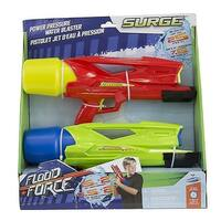 """Pack of 2 Green & Red Flood Force Surge Pump Action Power Pressure Water Blaster Squirt Guns 13.25"""""""