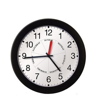 DayClocks Combination Day-of-the-Week Wall Clock with Black Trim