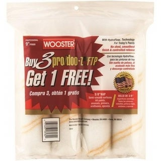 """Wooster RR868-9 Pro/Doo-Z-Ftp Paint Roller Covers, 9"""" x 3/8"""", 4/Pack"""