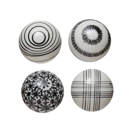Stoneware Black Orbs, Set of 4 Styles