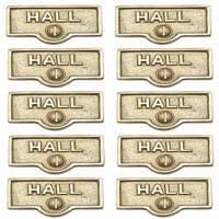 10 Switch Plate Tags HALL Name Signs Labels Lacquered Brass | Renovator's Supply