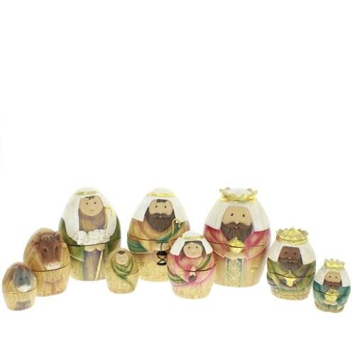 9 Piece Nativity Family Nesting Box