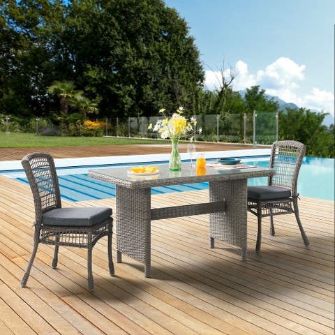 """Asti All-Weather Wicker 3-Piece Outdoor Dining Set with 30""""H Table with Glass Top and Two 37""""H Dining Chairs"""