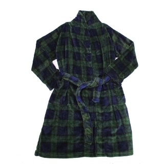 Club Room NEW Pine Green Mens One Size Shawl Collar Tartan Plush Robe