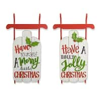 """Set of 2 Red and White Christmas Wishes Message Decorative Sleds Wall Decor 23.75"""""""