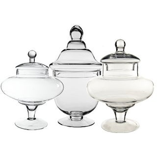 CYS Apothecary Glass Jar Candy Buffet Jar/Vase Container with Lid, Set of 3