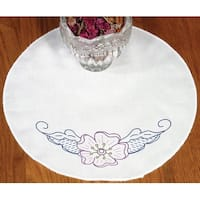 """Stamped Doily 12"""" Round-Floral"""