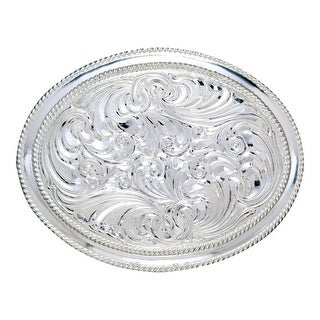 Crumrine Western Belt Buckle Womens Scroll Rope Edge Silver C01310 - 3 x 4
