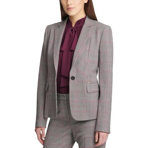 DKNY Womens One-Button Blazer Plaid Formal