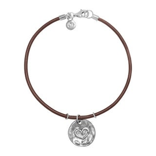 Hammered Heart Charm Bracelet in Sterling Silver and Leather - White
