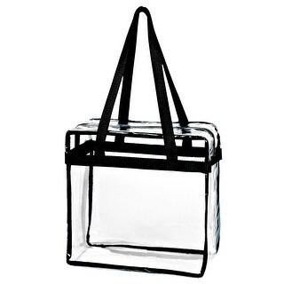 Crystal Clear Transparent PVC Plastic Women Tote Bag w/ Zippered Top Closure, Black Shoulder Strap